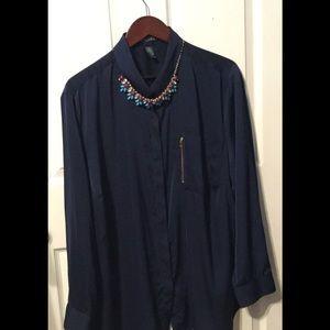 LAUREN Ralph Lauren Navy blue women's blouse 3X