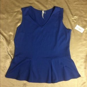 NY Collection Tops - NWT NY Collection Sleeveless Blue Peplum Top, XL👚