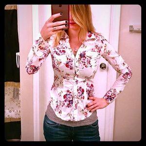 Buffalo David Bitton Tops - Buffalo Floral white button down shirt XS