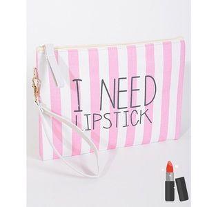 Fabfindz Handbags - 🌻SPRING SALE🌻I need Lipstick Wristlet Makeup Bag