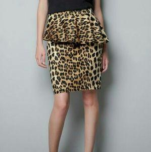 Zara Woman Leopard Animal Print Peplum Skirt Med