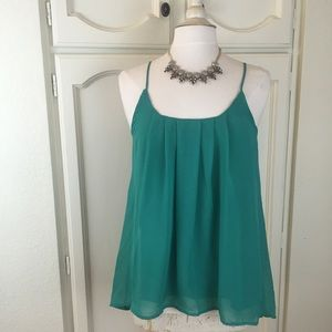 Honey Punch Tops - Green Chiffon Tank