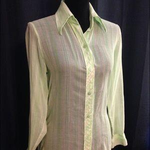 Koret Tops - Sheer mint green long sleeved blouse