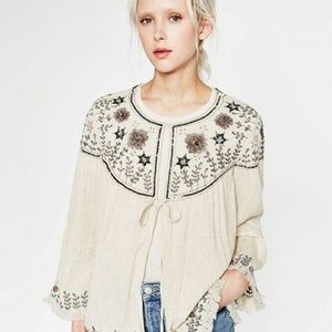 Zara embroidered jacket -- medium