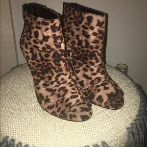 Forever 21 Shoes - Forever 21 Leopard peep toes heel booties.