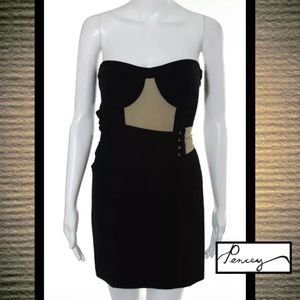 Pencey Dresses & Skirts - PENCEY Chic & Edgy Blk/Tan Stretch Strapless Dress
