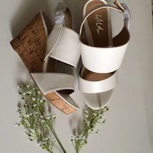 Wild Pair Shoes - White Wild Pair open toe wedge