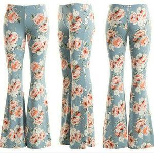 Fashionomics  Pants - Gorgeous Blue Floral Bell Bottom pants