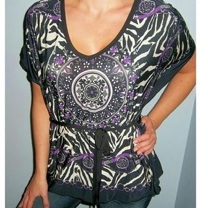 Jaclyn Smith Tops - New SILKY Belted MEDALLION Dolman Top