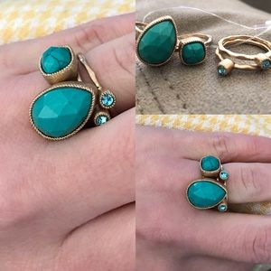 Anthropologie Jewelry - anthropologie turquoise hammered stacking ring set
