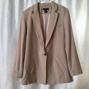 H&M Long Tan Nude One Button Blazer Jacket