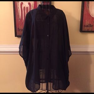 H&M sheer button front blouse