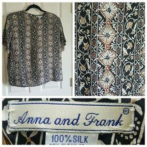 anna and frank Tops - Classic career blouse 100% silk key hole back lg