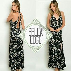 Bella Edge Dresses & Skirts - Black white floral strappy slit maxi dress