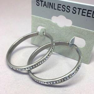 Jewelry - Stainless Steel Crystal Rhinestone Hoop Earring