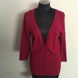 Hillard & Hanson Sweaters - Hillard & Hanson red medium knit cardigan sz large