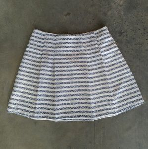 Skies Are Blue White and Blue Print Striped Skirt