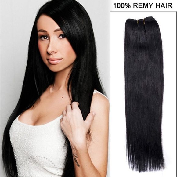 Other 24 Inch Black Human Hair Clip In Extensions Poshmark