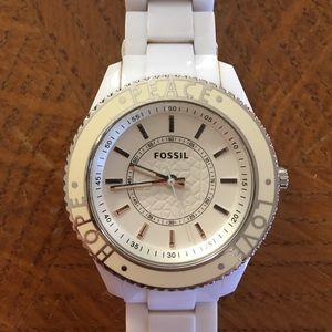 Fossil Peace Love Hope stainless steel watch.