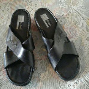 Josef Seibel Shoes - JOSEF SEIBEL BLACK LEATHER CRISS CROSS MULES SZ 40