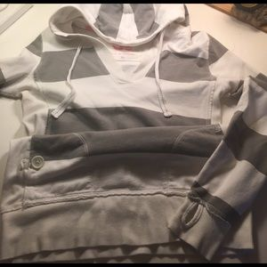 Other - SO sweatshirt white and grey stripe with hood.