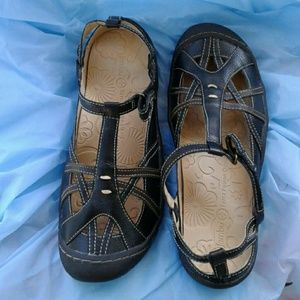 """Jambu Shoes - JAMBU """"DUNE"""" BLACK LEATHER SPORT FLAT SIZE 9M"""