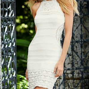 Venus Dresses & Skirts - NWT Venus High Neck Lace Insert Crochet Dress