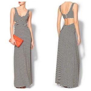 Anthropologie Black & Cream Striped Maxi Dress S