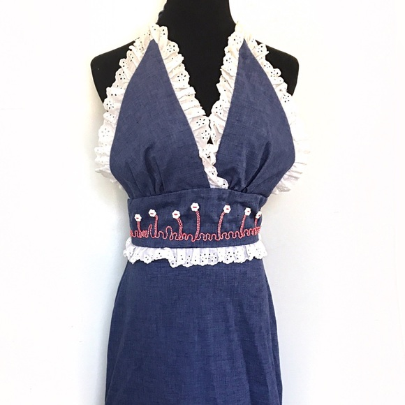Vintage Dresses & Skirts - Vintage Chambray Halter Sun dress