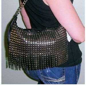 Buckle Handbags - New Black SILVER STUDDED FRINGE Purse