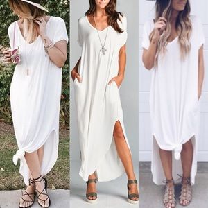 CHARLIZE solid boho dress - IVORY
