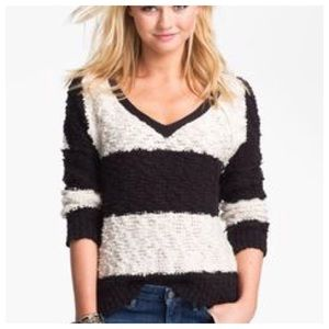 Free People Black & White Striped Sweater Sz M