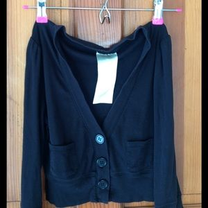 Tops - Black cropped cardigan.
