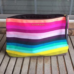 Victoria's Secret Multi-Colored Striped Makeup Bag