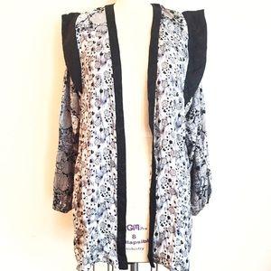 vintage Tops - Blue White and Gray Silk Jacket Kimono!