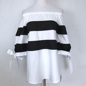 Black & White Hi-Low Off Shoulder Top