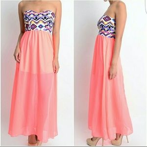 Twilight Gypsy Collective Dresses & Skirts - Neon Coral Strapless Aztec Dress
