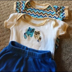 Luvable Friends Other - Racoon and chevron shirts with matching pants