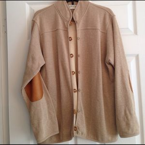 Orvis Jackets & Blazers - ORVIS BEIGE TOGGLE SPRING JACKET WITH LEATHER