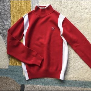 New Mock neck red and white Puma sweater size m