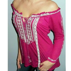 Tops - New Bohemian EMBROIDERED Peasant Top