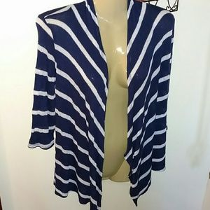 NAVY & WHITE OPEN FRONT CARDIGAN