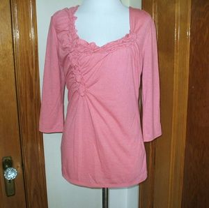 a.n.a Tops - Pink Ruffle Scoop Neck Blouse