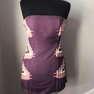 Ecoté Strapless Purple Aztec Dress - S
