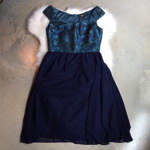 Little Mistress Dresses & Skirts - Little Mistress Blue Bardot Dress
