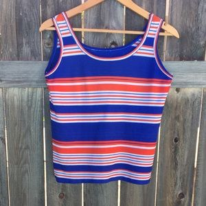 VTG 70s red/blue/white striped tank SZ M/L