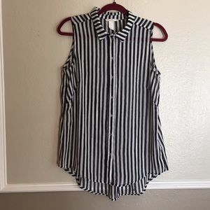 H &M Sleeveless Striped Chiffon Blouse