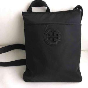 Tory Burch satchel messenger bag black canvas