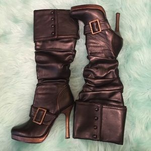 Ellie Shoes - Black leather boots with gold heels