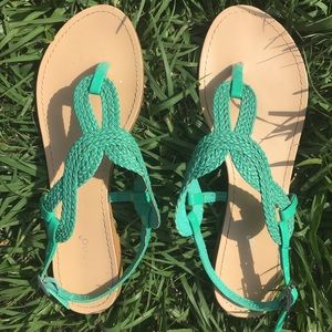 bamboo Shoes - Mint green woven sandals
